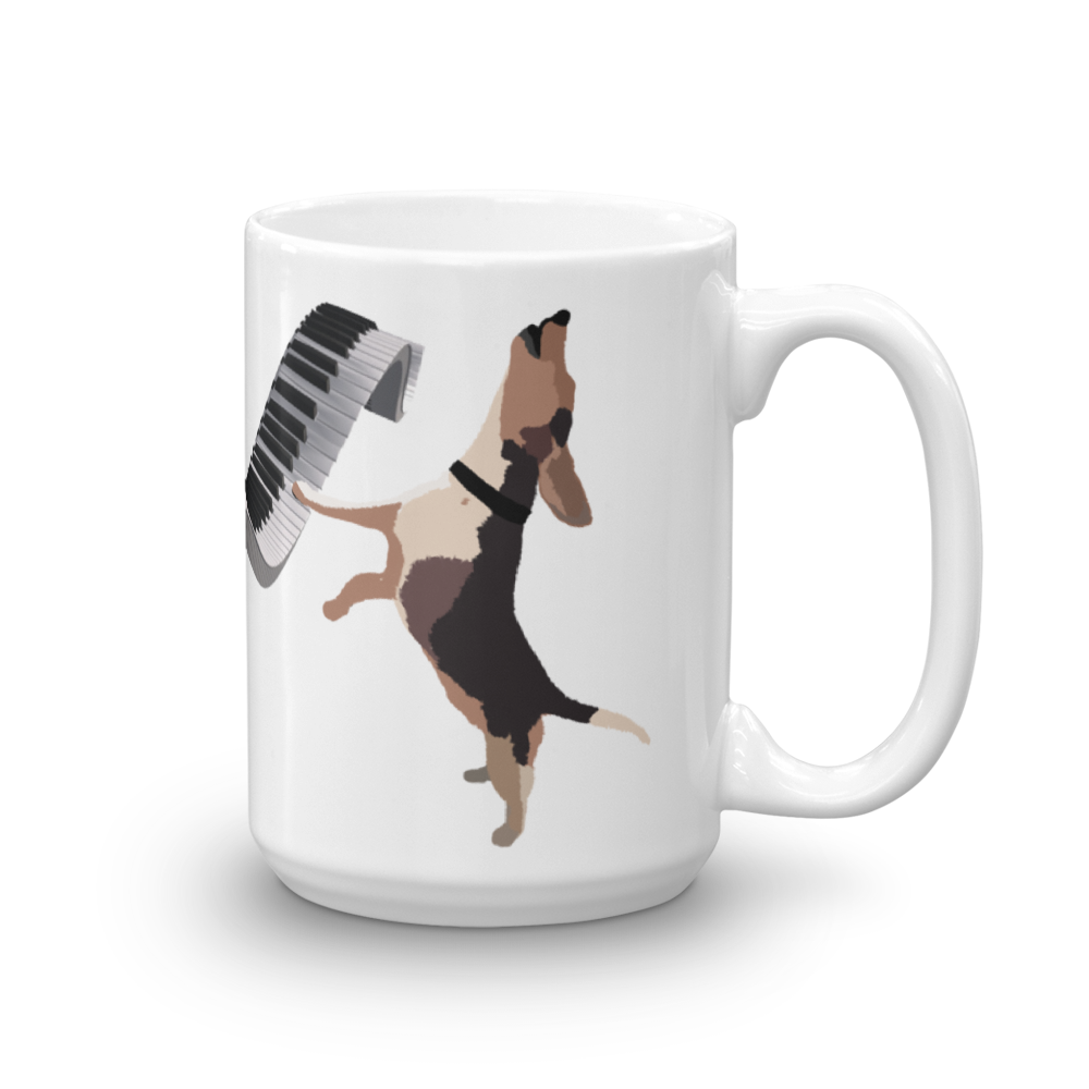 Buddy Mercury the singing piano playing beagle who portrays Freddie Mercury from the band, Queen full color ceramic beverage mug