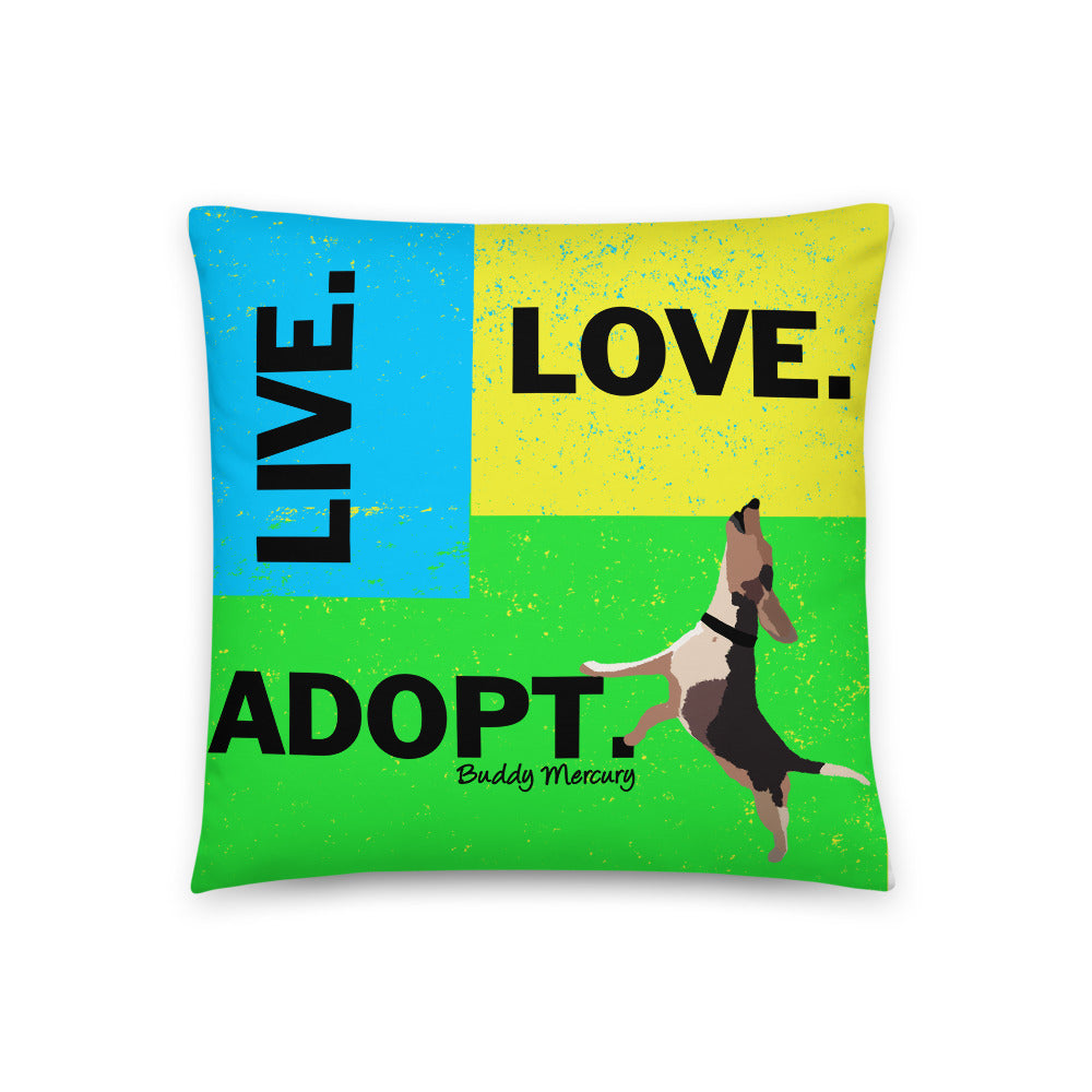 Live.Love.Adopt Pillow - Neon