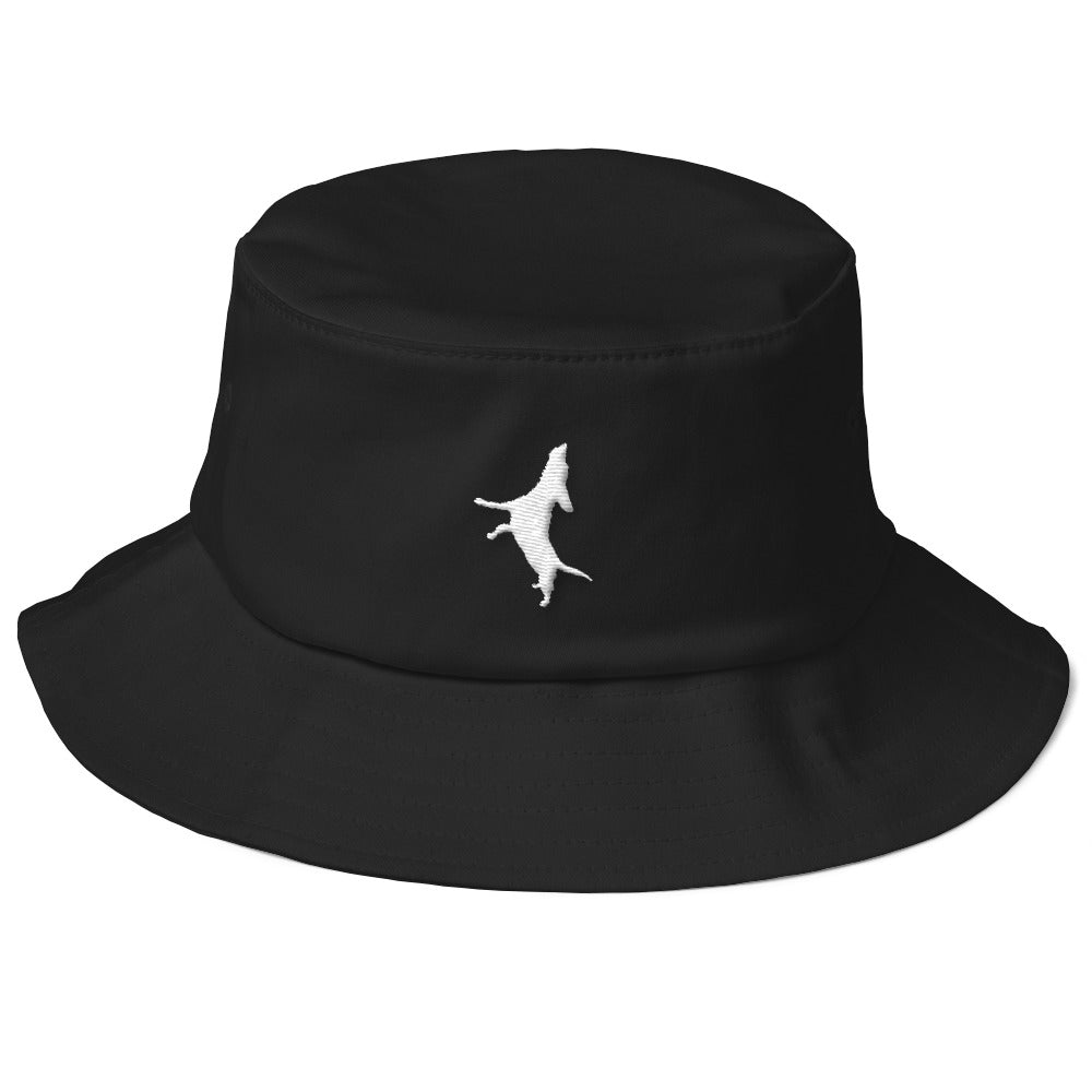 Black bucket hat with the singing and piano playing beagle Buddy Mercury who portrays Freddie Mercury from the band Queen embroidered with white thread