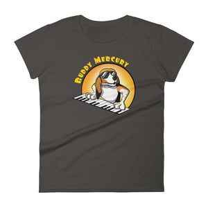 Buddy Mercury the singing piano playing beagle who portrays Freddie Mercury from the band Queen smoke ladies fit tshirt
