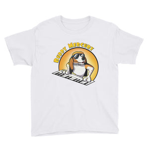 Buddy Mercury the singing piano playing beagle who portrays Freddie Mercury from the band Queen youth sized white tshirt