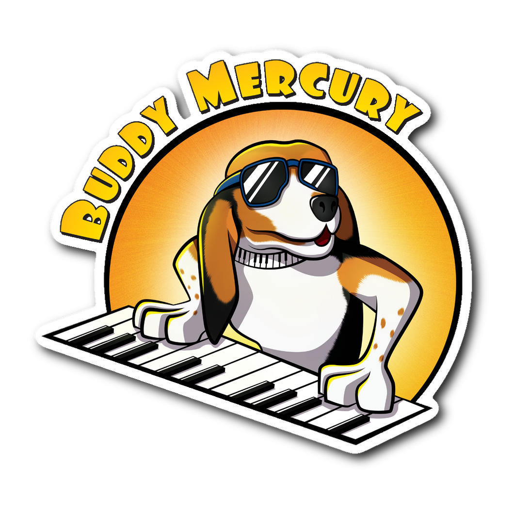 Buddy Mercury the singing piano playing beagle who portrays Freddie Mercury from the band Queen cartoon sticker