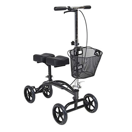 Knee Scooter - Dual Pad Steerable Knee Walker with Basket, Alternative to Crutches
