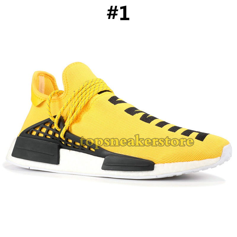 2ecfb8cc79ae3 2019 NMD Human Race Mens Running Shoes With Box Pharrell Williams Sample  Yellow Core Black Sport Designer Shoes Women Sneakers 36-45