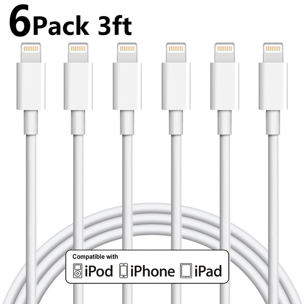 IPhone Charger 6Pack 3FT Lightning to USB Cable Charging Cord(White)