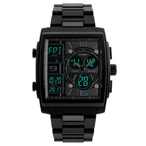 Men's Watch Large Square Military Sports Analog Digital Outdoor Waterproof Wrist Watch
