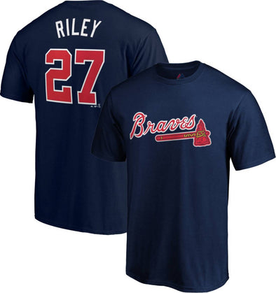 Atlanta Braves Majestic Austin Riley #27 Player Tee- Navy