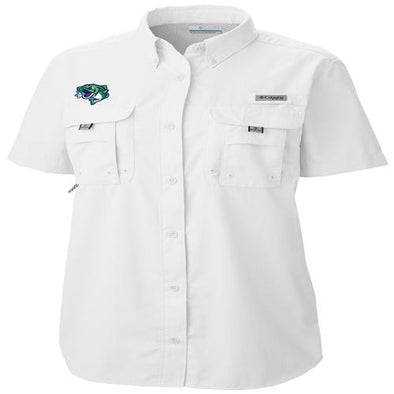 Gwinnett Stripers Columbia Women's Cap Logo Bahama Shirt- White