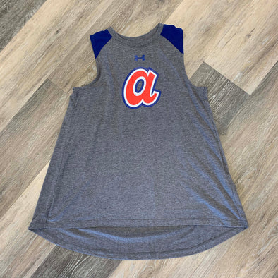 Atlanta Braves Under Armour Women's Coop Flowy Tank- Grey/Royal