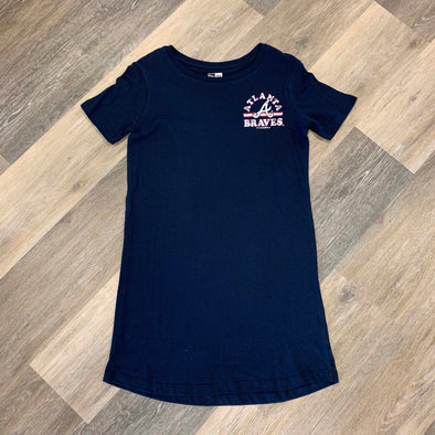 Atlanta Braves New Era Women's Jersey Tee Dress- Navy