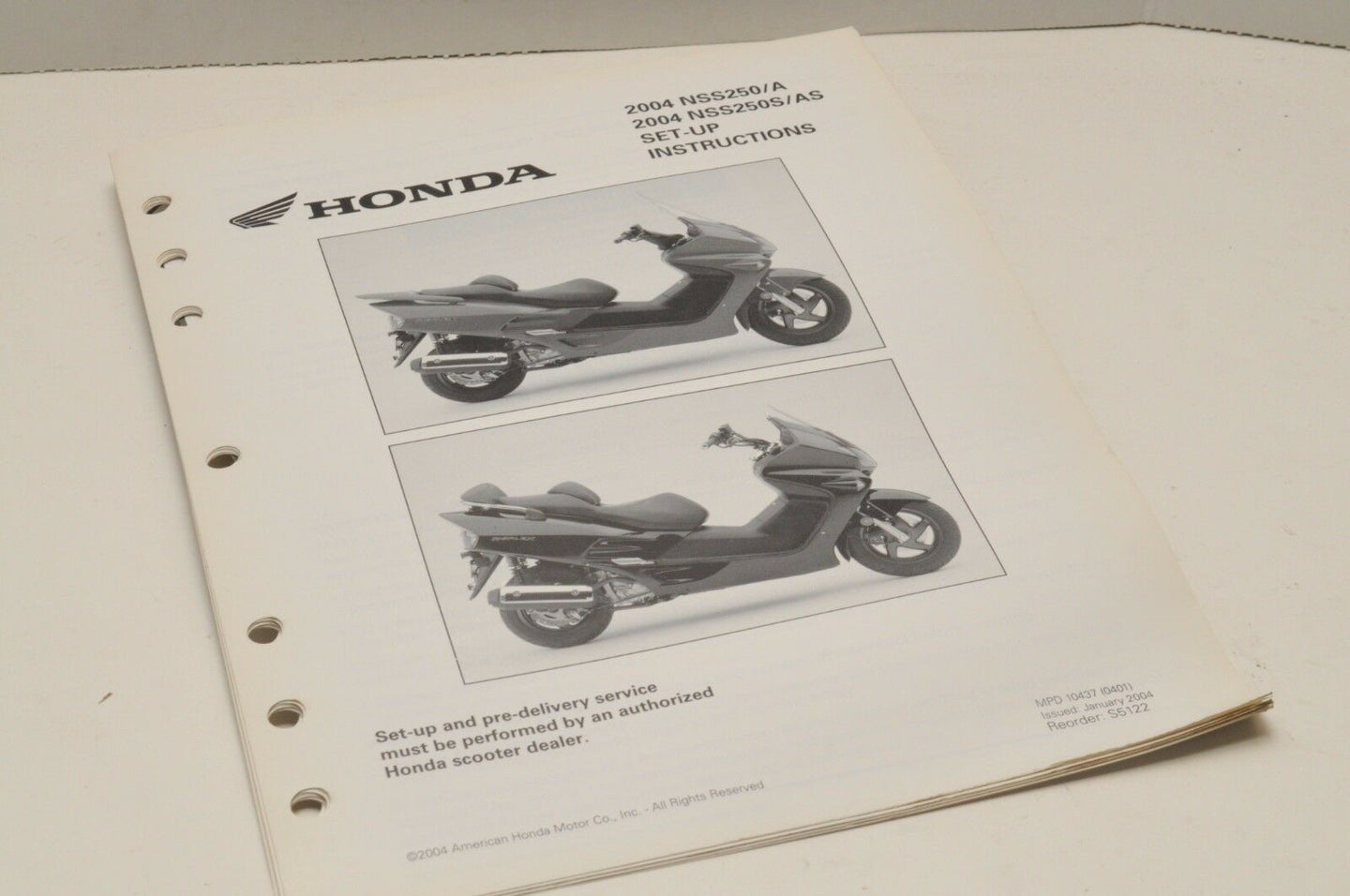 2004 NSS250 A S AS Genuine OEM Honda Factory SETUP INSTRUCTIONS PDI MANUAL S5122