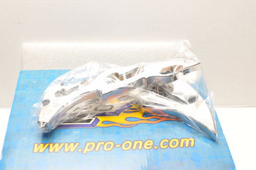 Pro-One Performance Mirror BILLET Chrome LEFT 0640-0257 CHOPPER HARLEY FLAME