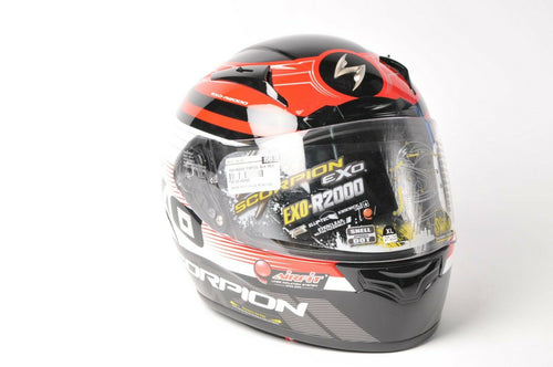 DISPLAY Scorpion EXO-R2000 Motorcycle Helmet Black/Red DOT/SNELL 2XL 30-02416