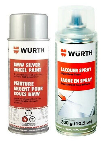 Wurth Combo - German Silver Wheel Lacquer Paint (BMW) + High Gloss Clear Spray