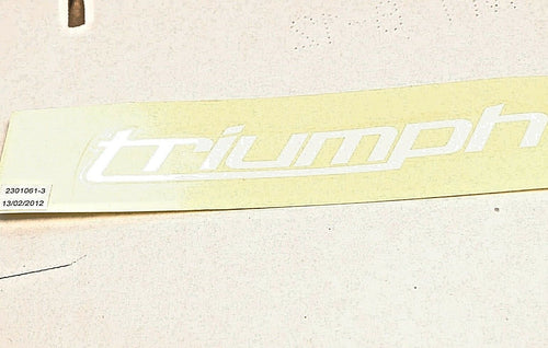 GENUINE OEM TRIUMPH T2301061 DECAL,FUEL TANK WHITE (BLACK/PURPLE/RED BIKES) 675