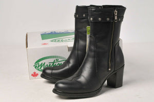 Martino Boots - Ladies Black Leather Posh Motorcycle 094153-01 Size 5 M w/Lining