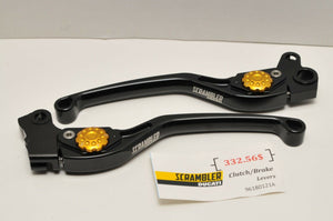 GENUINE DUCATI 96180121A SCRAMBLER ALUMINUM LEVER KIT PAIR SET BLACK/GOLD
