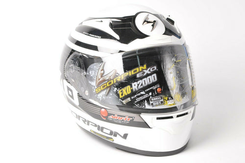 DISPLAY Scorpion EXO-R2000 Motorcycle Helmet White/Black DOT/SNELL XL 200-7636