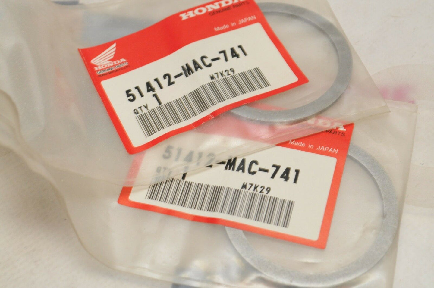 NOS OEM Honda 51412-MAC-741 Qty:2 RING,BACK-UP CR250R CR500R XR650R CR125R