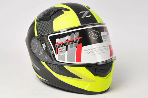 ZOX Z-FF50 Motorcycle Helmet Momentum Matte Black Yellow Hi Viz X-Small DOT ECE