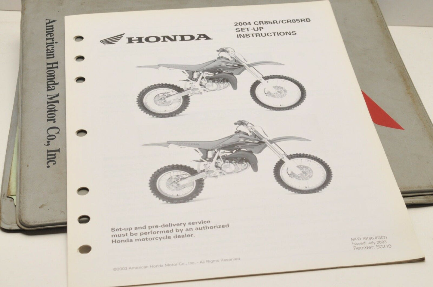 2004 CR85R CR85RB CR85 GENUINE Honda Factory SETUP INSTRUCTIONS PDI MANUAL S0210