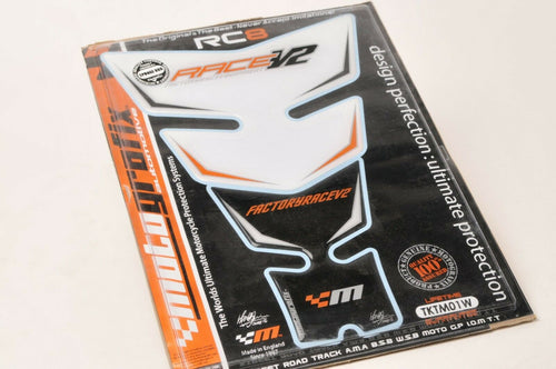 MOTOGRAFIX TKTM01W Motorcycle Gel Tank Pad - KTM RACE V2 RC8 WHITE/BLACK