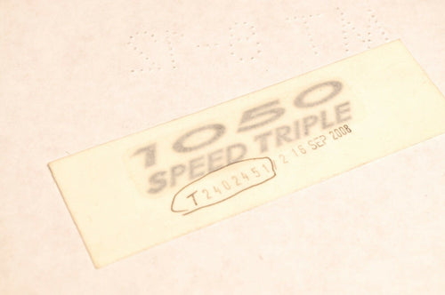 GENUINE OEM TRIUMPH T2402451 DECAL,FUEL TANK CENTRE - SPEED TRIPLE 1050