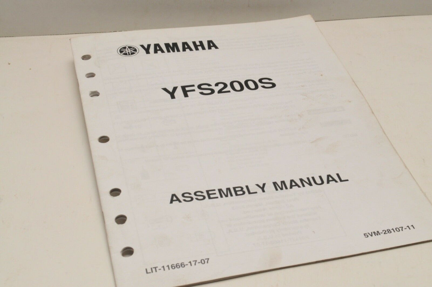 Genuine Yamaha ASSEMBLY SETUP MANUAL YFS200S BLASTER 200 2004 LIT-11666-17-07