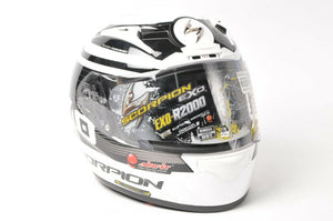 DISPLAY Scorpion EXO-R2000 Motorcycle Helmet White/Black DOT/SNELL 2XL 200-7637