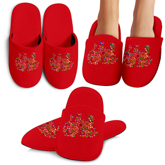 Elephant Mandala Slippers Red