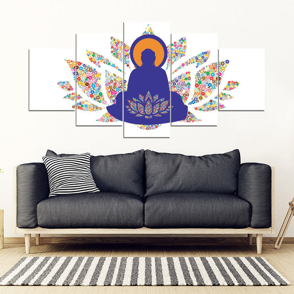 Buddha Lotus 5-Piece Canvas Art