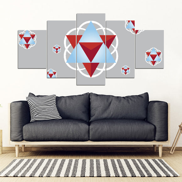 Sacred Geometry 5-Piece Framed Canvas Wall Art - Grey