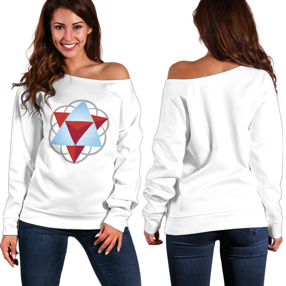 Women's Sacred Geometry Off Shoulder Sweatshirt - White