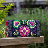Womens Embroidered Wristlet Clutch Purse