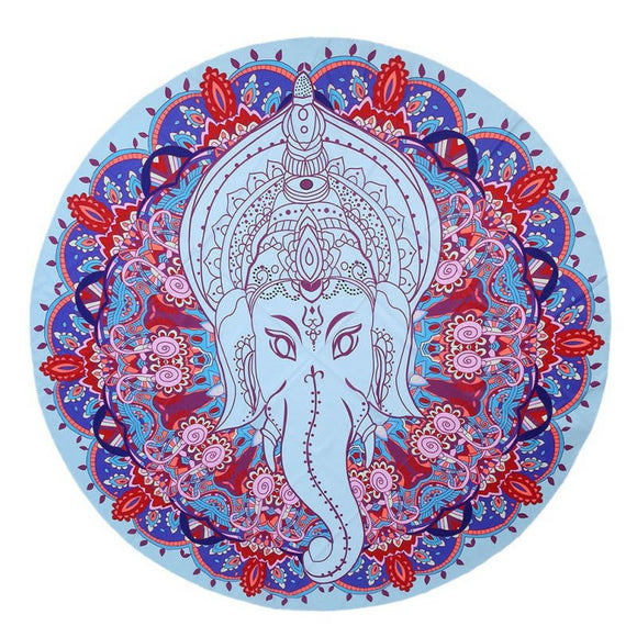 Summer Mandala Round Elephant Ganesha Print Tapestry or Throw