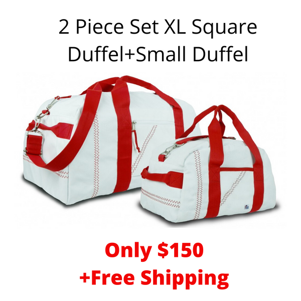 SailorBags 2 Piece Set XL Square Duffel+ Small Duffel 1 Day/ 2 Day Duffel Set