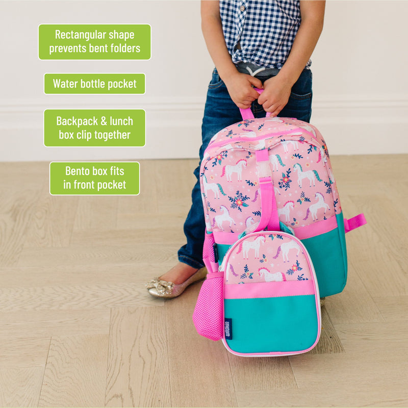 "Wildkin Vegan Clip-in Lunch Box+Pack It All 15"" Backpack Set"