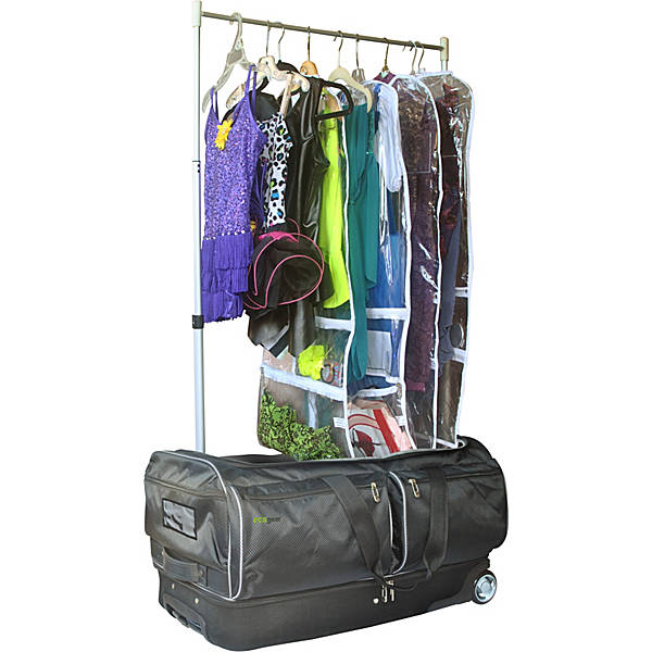 "Ecogear 28"" Wheeled Duffel with Garment Rack Converts into a Mini Closet+Free Bottle - Strong Suitcases-Vegan Luggage"