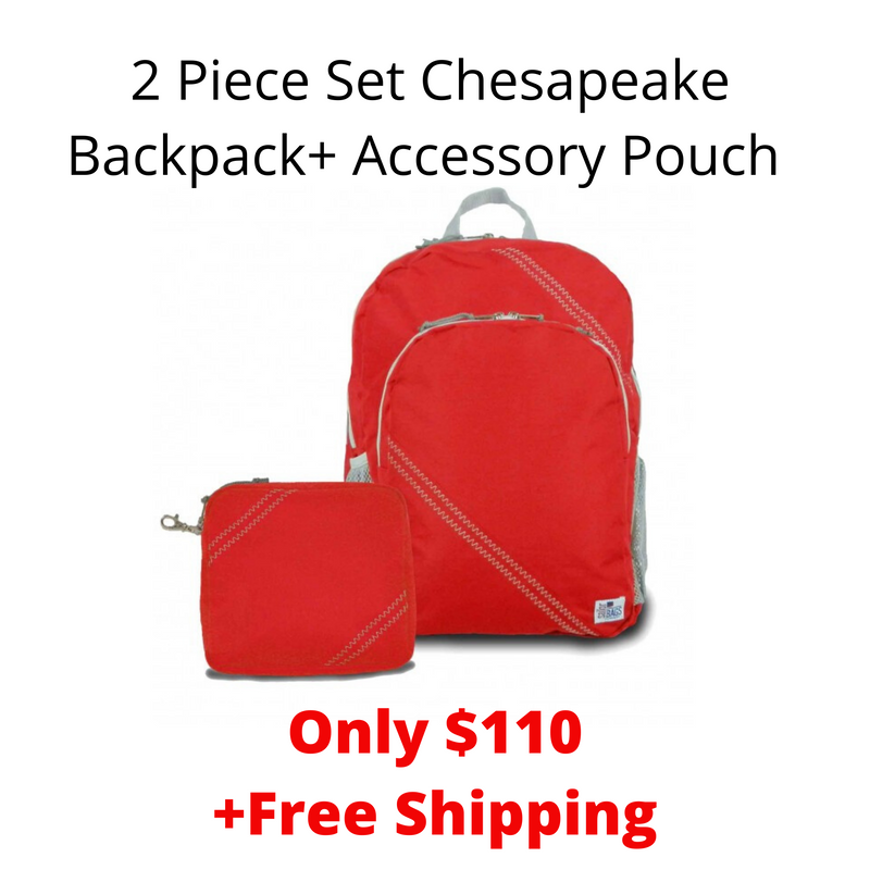SailorBags 2 Piece Set Chesapeake Backpack+ Accessory Pouch