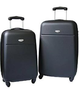 NorthPak Stockholm 2 Piece Black  20'' and 24'' luggage Spinner Set - Strong Suitcases-Vegan Luggage
