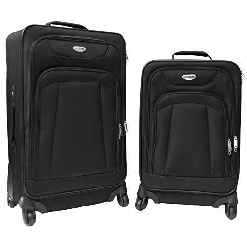 NorthPak Milano 2 Piece 21'' and 25'' luggage Spinner Softside 600D Polyester carry-on Set - Strong Suitcases-Vegan Luggage
