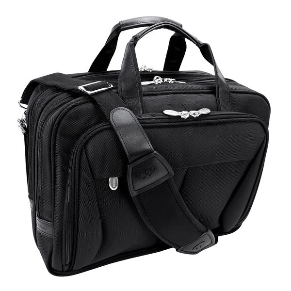 "McKlein Pearson 17"" Nylon Expandable Double Compartment Laptop Briefcase"