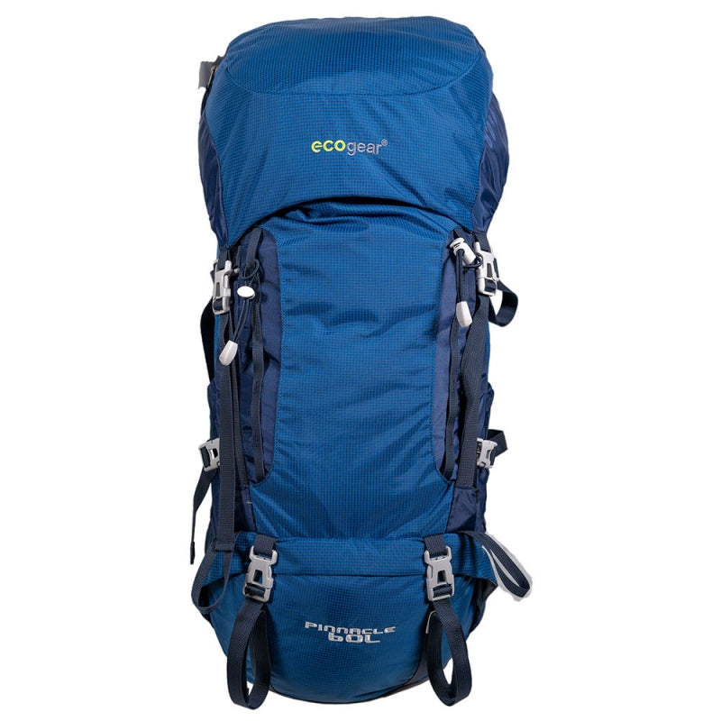 Ecogear Pinnacle 60L lightweight  Hiking Backpack With Rain Cover+Free Bottle - Strong Suitcases-Vegan Luggage