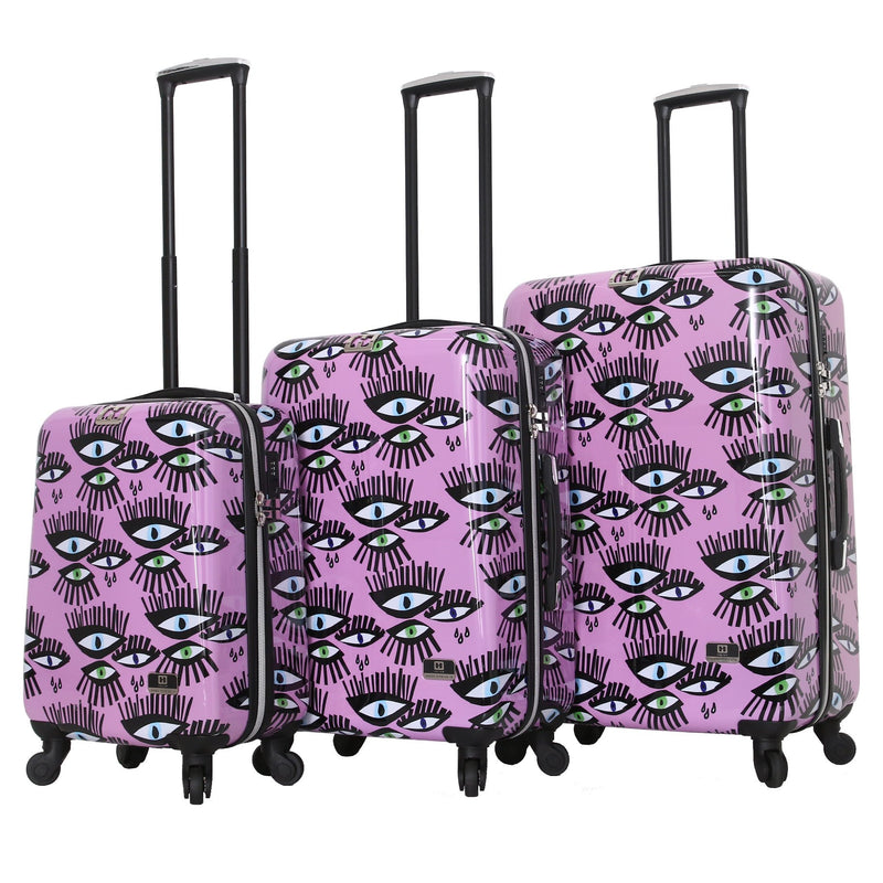 Halina Bouffants & Broken Hearts Bold Eyes 3 Piece Luggage Set - Strong Suitcases-Vegan Luggage