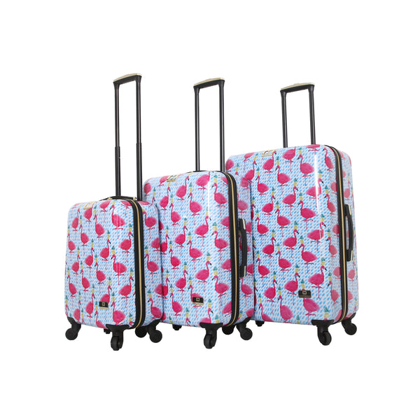 Halina Bouffants & Broken Hearts Party Flamingos 3 Piece Luggage Set - Strong Suitcases-Vegan Luggage