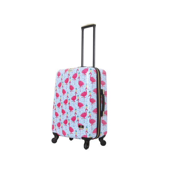 "Halina Bouffants & Broken Hearts Party Flamingos 24"" Carry on Spinner Suitcase - Strong Suitcases-Vegan Luggage"