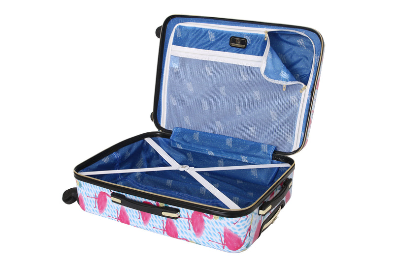 "Halina Bouffants & Broken Hearts Party Flamingos 28"" Carry on Spinner Suitcase - Strong Suitcases-Vegan Luggage"