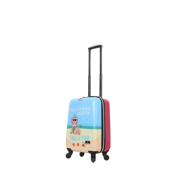 "Halina Aunty Acid 20"" Beach Vacation Graphic Cartoon Carry On Luggage - Strong Suitcases-Vegan Luggage"