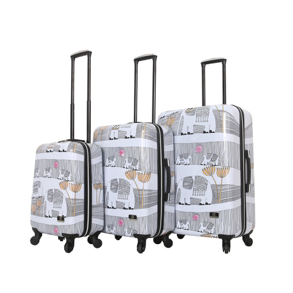 Halina Valerie Valerie Elephants 3 Piece Luggage Set - Strong Suitcases-Vegan Luggage
