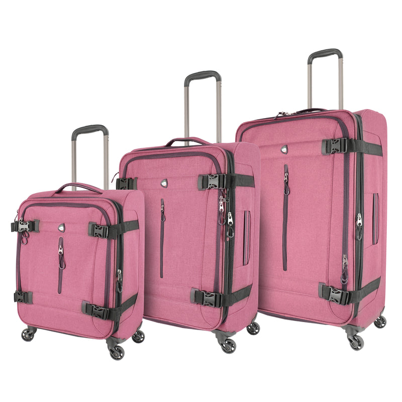 Mia Toro ITALY Ischia Softside Spinner Luggage 3pc Set+Compression Straps - Strong Suitcases-Vegan Luggage